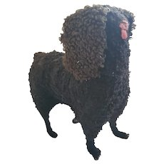 Antique Late 19th Early 20th C. Folk Art Black Curly Haired Dog Stuffed Toy