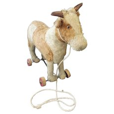 Antique ca. 1920 Brown & White Mohair Cow Pull Toy