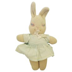 "Vintage ""Mrs. Ryan's Knitted Toys"" White Rabbit Doll"