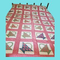19th C. PA. Basket Quilt w/Trees & Flowers Border