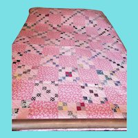 Cheerful Vintage 1930's-40's Pink Criss Cross Quilt from my Collection