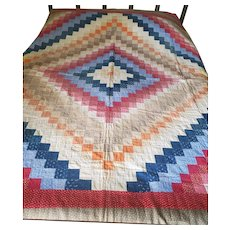 Antique PA. Double Sided Trip Around the World/Bars Summer Quilt