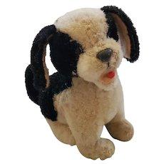 Tiny Vintage Black & White Mohair Dog Stuffed Toy