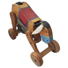 Funky Vintage Wooden Donkey Wind-Up Toy