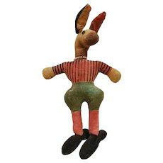 Funky Vintage Mid 20th C. Velveteen Donkey/Mule Stuffed Toy