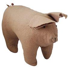 Adorable Little Mid-20th C. Folk Art Pink Felt Pig Stuffed Toy