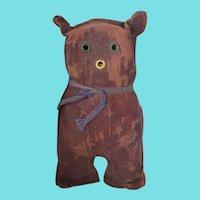 Vintage Super Primitive Folk Art Oilcloth Cat Stuffed Toy