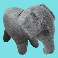 Vintage Near Mint Folk Art Gray Wool Knit Elephant Stuffed Toy