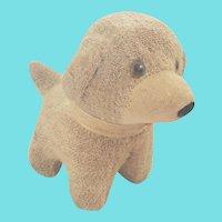 Cute & Diminutive Tan & White Mohair Dog Stuffed Toy