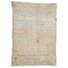 Antique First Half of 19th C. Unframed Homespun Sampler w/Maker's Name & Age