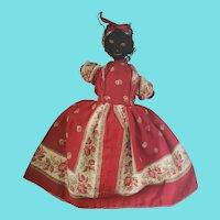 19th C. New England Folk Art Sockinette Topsy-Turvy Doll in Superb Condition