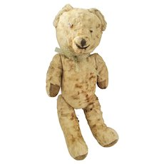 """Vintage 16"""" Brown Mohair Jointed Teddy Bear w/Button Eyes"""