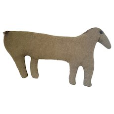 Vintage Folk Art Horse Stuffed Toy w/Shoe Button Eyes