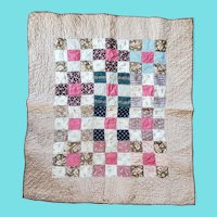 Antique PA. Patchwork Crib Quilt in Great Early Brown and Red Fabrics