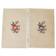 Diminutive Antique Embroidered Floral Design Book Cover