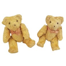 Darling Pr. of Tiny Gold Mohair Jointed Teddy Bears