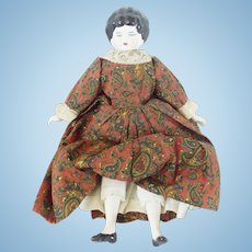 Vintage Porcelain Doll With Hand Made Clothing