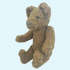 Diminutive Vintage Curly Brown Mohair Jointed Humpback Teddy Bear