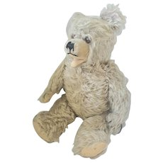 Vintage Shaggy Champagne Mohair Jointed Open Mouth Teddy Bear