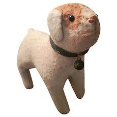Antique Early 1900's Folk Art Stuffed Dog w/ Original Collar & Bell