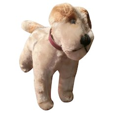 Diminutive Vintage Painted Mohair Airdale Stuffed Dog