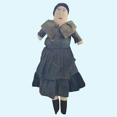 Antique Late 19th C. PA. Folk Art Rag Doll w/Embroidered,  Face & Velvet Hair