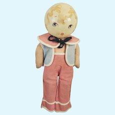 Unusual Vintage 1920's-30's Folk Art Rattle Head Doll