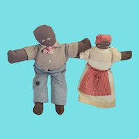 Pr. Vintage Male & Female Black Americana Folk Art Rag Dolls
