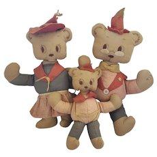 Set of Vintage Mid 20th C. Folk Art 3 Bears Rag Dolls