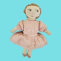 Diminutive Vintage PA. Folk Art Rag Doll in Pink Homespun Dress