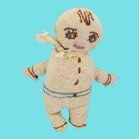 Tiny Vintage 1920's Folk Art Sock Doll