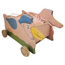 Vintage 1930's Folk Art Pink Duck Toy Wagon