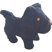 Vintage Primitive Excelsior Stuffed Curly Black Mohair Scottie Dog Toy