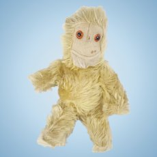 Vintage White Mohair Articulated Monkey Stuffed Toy