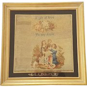 19th C. Berlin Woolwork of Children & Dog With Eglomise Signature