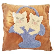 Vintage Folk Art Kittens in Basket Hooked Pillow From My Collection