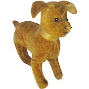 Antique Early 1900's Primitive Velveteen Dog Stuffed Toy