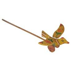 Vintage Primitive Folk Art Articulated Bird Push Toy