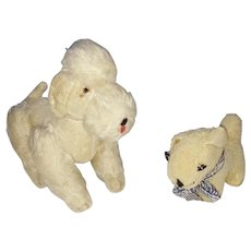 Pair of Vintage Dog Stuffed Toys - Lamb's Skin Dog & Articulated Mohair Poodle