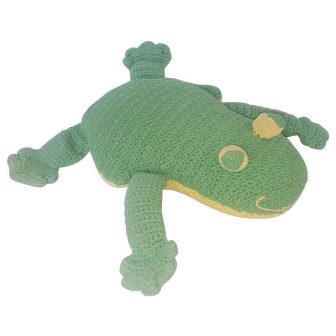 Funky Vintage Folk Art Frog Stuffed Toy from my Collection