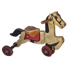 Vintage Wooden Horse Tricycle Toy