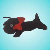 Vintage 1940's Folk Art Black Corduroy Scottie Dog Stuffed Toy