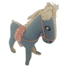 Vintage 1950's Folk Art Crocheted Stuffed Toy Horse