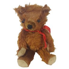 Cute Vintage Articulated Brown Mohair Teddy Bear