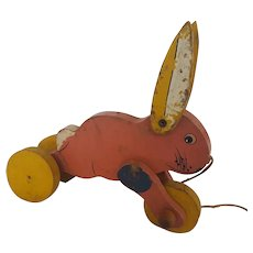Vintage 1930's Folk Art Pink Rabbit Pull Toy