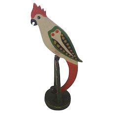 Vintage Folk Art Fanciful Polychrome Cockatoo Bird Nodder Toy