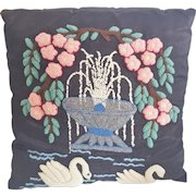Vintage Hooked Pillow With 2 Swans, Fountain, and Pink Blossoms Design