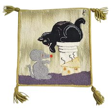 Vintage Canadian Folk Art Hooked Mat Depicting Cat & Mouse, & Cheese