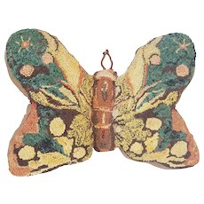 Unique Vintage Folk Art Butterfly Hooked Pillow