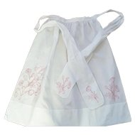 """Early 1900's 36"""" Redwork Floral Design Apron From My Collection"""